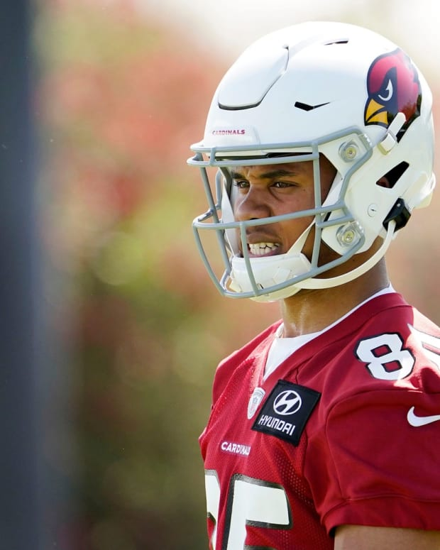 Arizona Cardinals wide receiver Rondale Moore (85) during rookie mini-camp at the Dignity Health training facility.