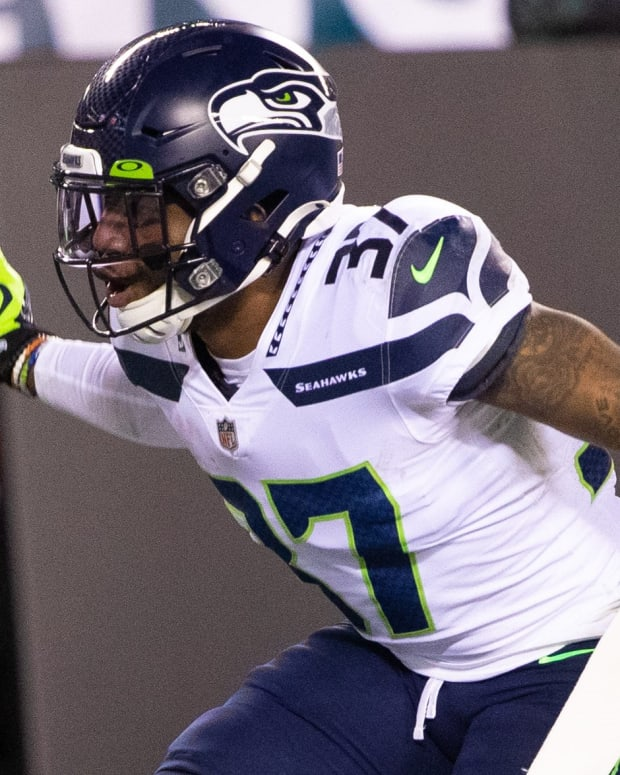 Seattle Seahawks free safety Quandre Diggs (37) celebrates after an interception during the fourth quarter against the Philadelphia Eagles at Lincoln Financial Field.