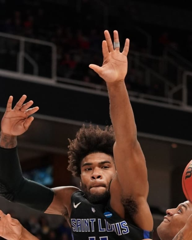 Virginia Tech Hokies guard Nickeil Alexander-Walker (4) shoots against Saint Louis Billikens forward Hasahn French (11) during the second half in the first round of the 2019 NCAA Tournament at SAP Center.