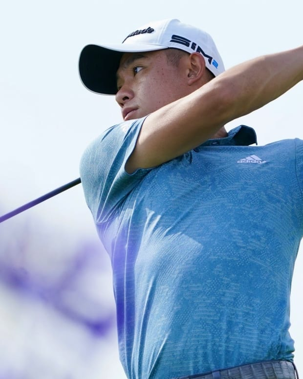 Collin Morikawa during a practice round for the U.S. Open
