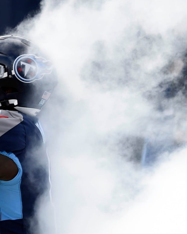 Tennessee Titans wide receiver A.J. Brown (11) as the Tennessee Titans take the field before their game against the Baltimore Ravens to start in Nashville on January 10, 2021.