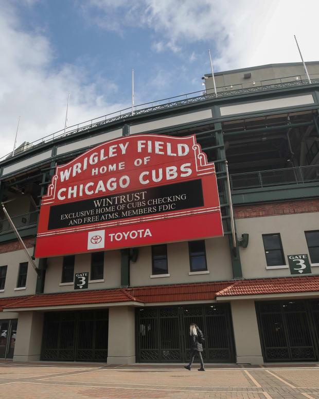 Mar 24, 2021; Chicago, Illinois, USA; A general view of the exterior of Wrigley Field. Kamil Krzaczynski-USA TODAY Sports