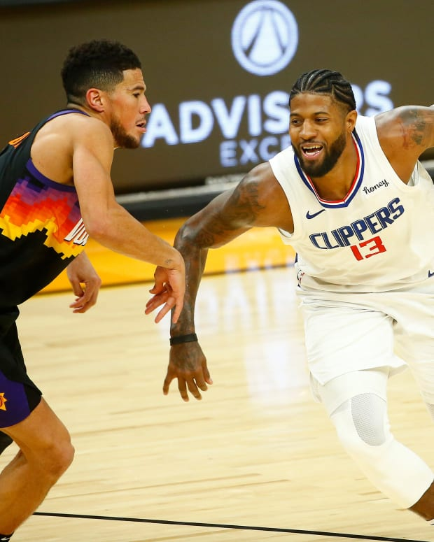 Paul George and the Clippers won two of three regular-season meetings with Devin Booker and the Suns.