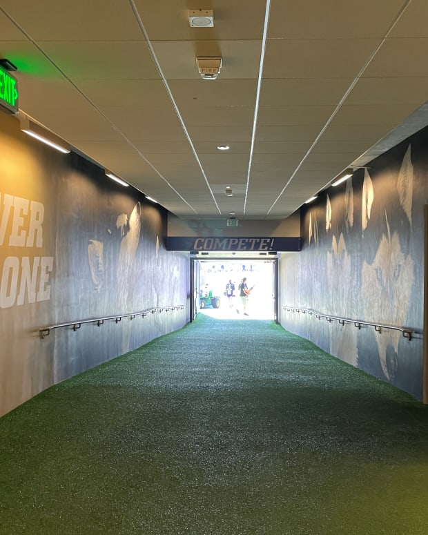 Players run out of this tunnel into Husky Stadium.