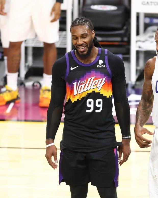 Jan 3, 2021; Phoenix, Arizona, USA; Phoenix Suns forward Jae Crowder (99) and Los Angeles Clippers forward Kawhi Leonard (2) talk in the second half at Phoenix Suns Arena. Mandatory Credit: Billy Hardiman-USA TODAY Sports