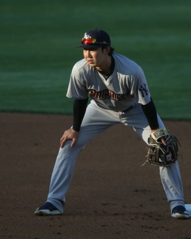 New York Yankees prospect Hoy Jun Park with Scranton/Wilkes-Barre RailRiders