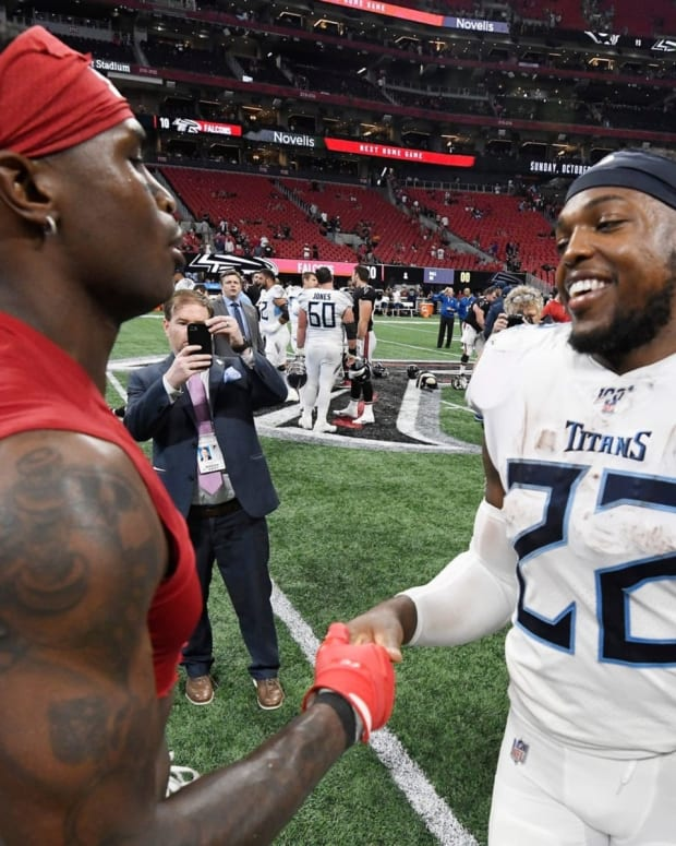 Former Alabama standouts Julio Jones and Derrick Henry are now teammates with the Titans