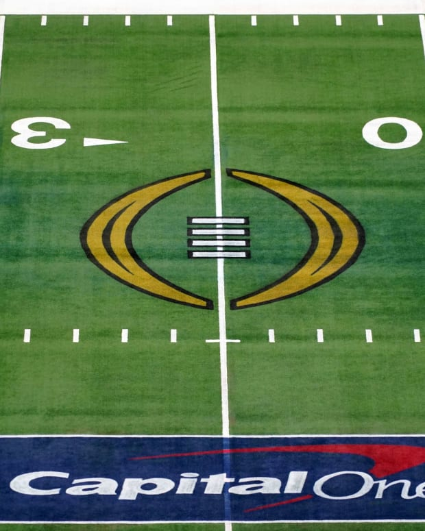 Jan 1, 2021; Arlington, Texas, USA; A general view of the Capitol One and College Football Playoff (CFP) logo on the field during the Rose Bowl between the Alabama Crimson Tide and the Notre Dame Fighting Irish at AT&T Stadium.