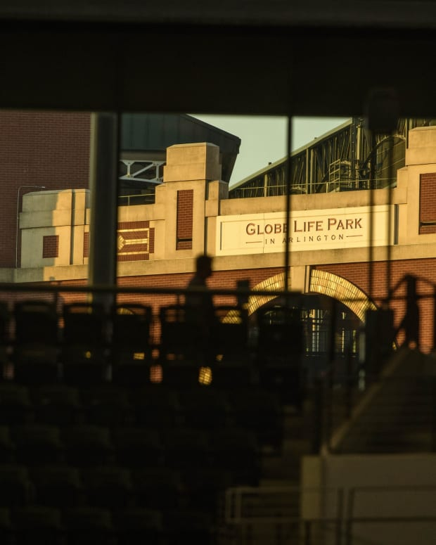 Aug 24, 2020; Arlington, Texas, USA; A view of Globe Life Park the former home of the Texas Rangers during the game between the Rangers and the Oakland Athletics at Globe Life Field.