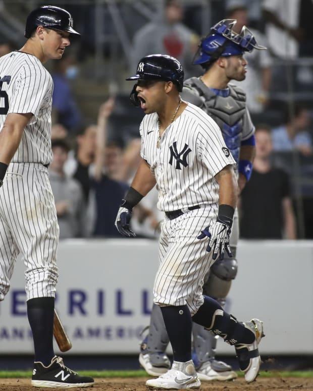 Yankees 2B Rougned Odor celebrates home run