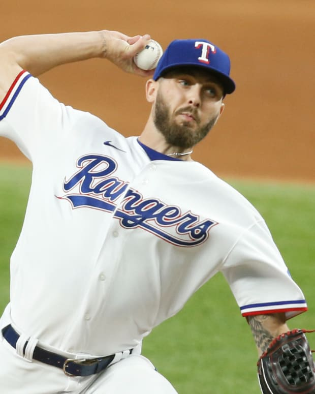 Jun 24, 2021; Arlington, Texas, USA; Texas Rangers relief pitcher Joe Barlow (68) pitches in the eighth inning against the Oakland Athletics at Globe Life Field.