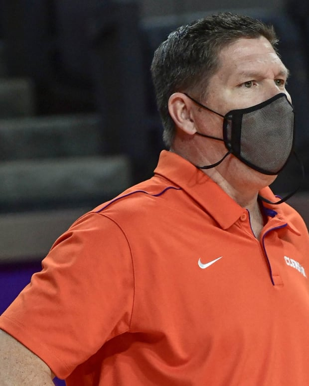 Clemson head coach Brad Brownell looks on during a win over Maryland