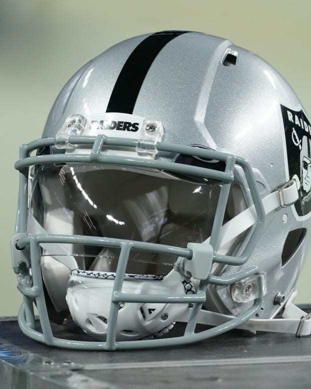 Dec 17, 2020; Paradise, Nevada, USA; A detail shot of a Las Vegas Raiders helmet before a game against Los Angeles Chargers at Allegiant Stadium.