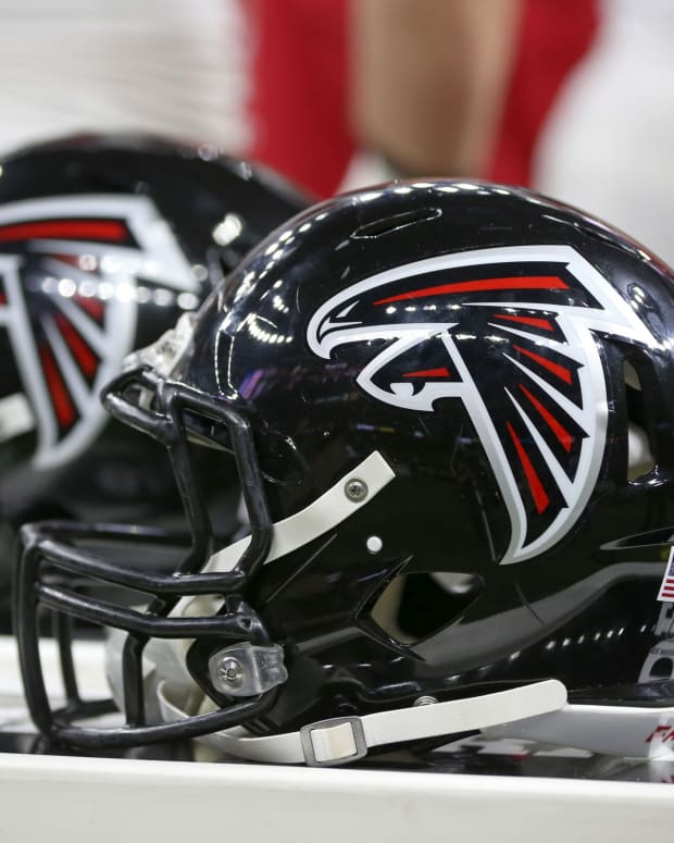 Nov 22, 2018; New Orleans, LA, USA; Atlanta Falcons helmets on the bench during their game against the New Orleans Saints in the first quarter at the Mercedes-Benz Superdome.