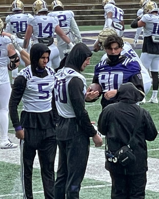 Mason West (80) missed spring practice with an injury or illness. He's shown with Alex Cook (5) and Asa Turner (20).