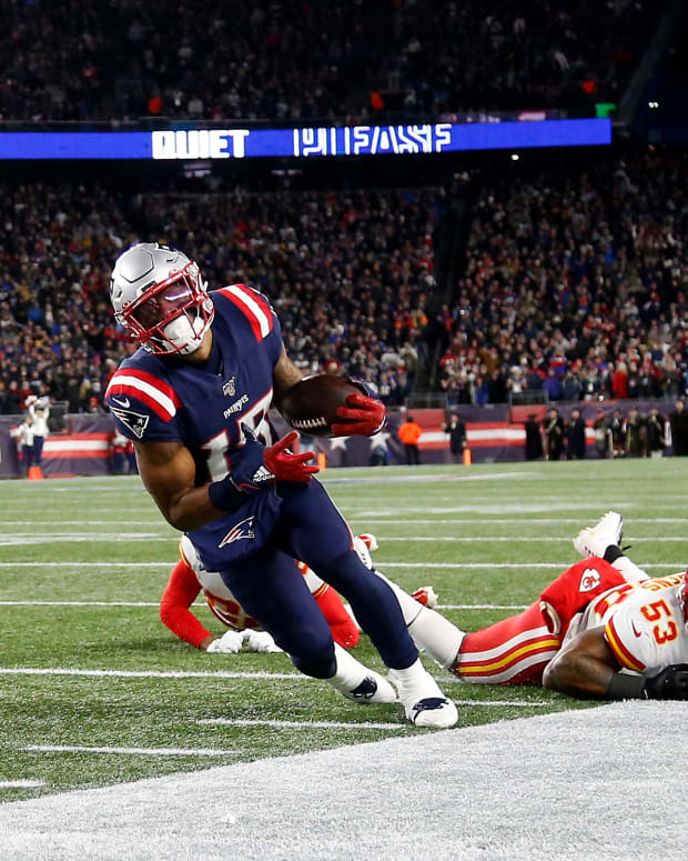 Dec 8, 2019; Foxborough, MA, USA; New England Patriots wide receiver N'Keal Harry (15) was called out of bounds after getting past Kansas City Chiefs inside linebacker Anthony Hitchens (53) and diving into the end zone during the second half at Gillette Stadium. Mandatory Credit: Winslow Townson-USA TODAY Sports