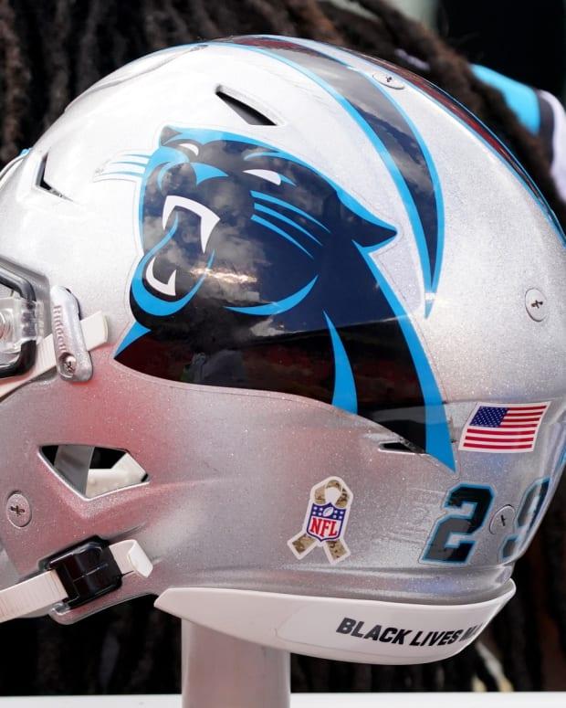 Nov 8, 2020; Kansas City, Missouri, USA; A general view of a Carolina Panthers helmet during the first half against the Kansas City Chiefs at Arrowhead Stadium.