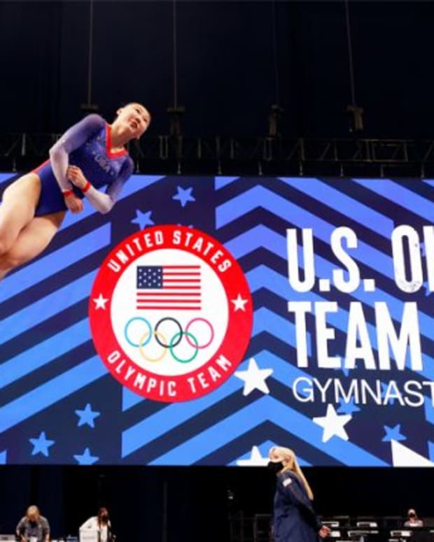 Kara Eaker warms up on the vault prior to the Women's competition of the 2021 U.S. Gymnastics Olympic Trials at America's Center on June 27, 2021 in St Louis, Missouri. (Photo by Jamie Squire/Getty Images)