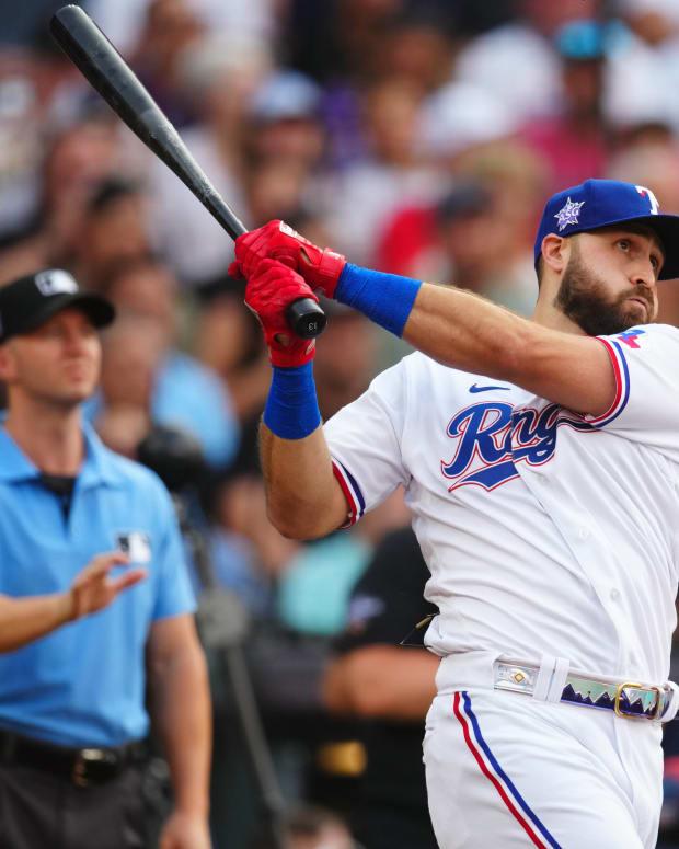 Jul 12, 2021; Denver, CO, USA; Texas Rangers right fielder Joey Gallo hits during the 2021 MLB Home Run Derby.