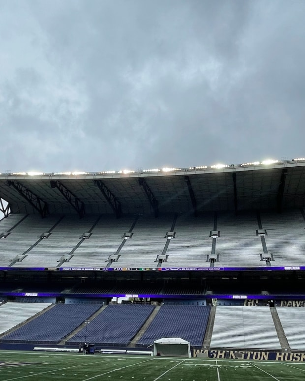 Husky Stadium on a cloudy day during spring practice.