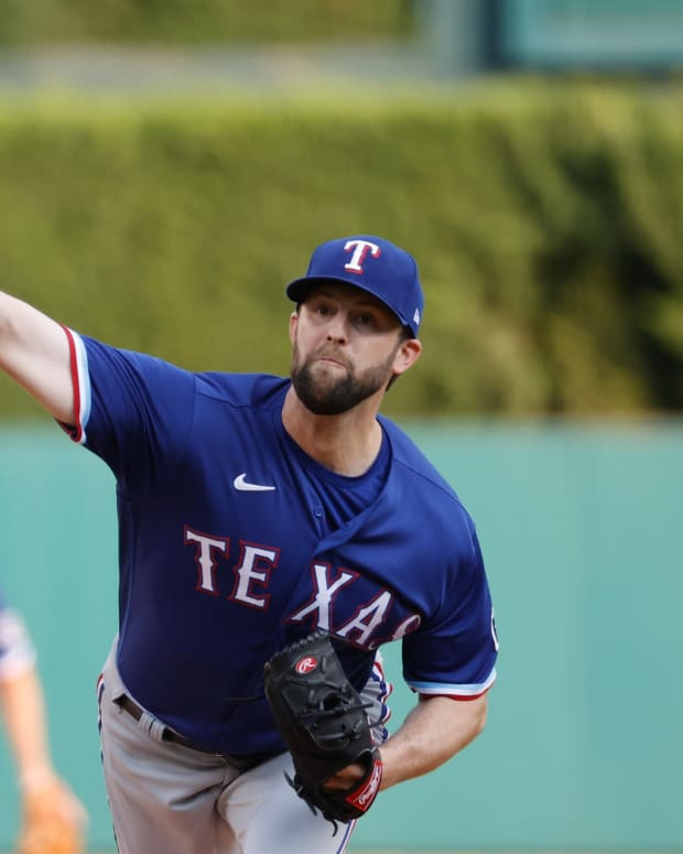 Jul 21, 2021; Detroit, Michigan, USA; Texas Rangers starting pitcher Jordan Lyles (24) pitches in the first inning against the Detroit Tigers at Comerica Park.
