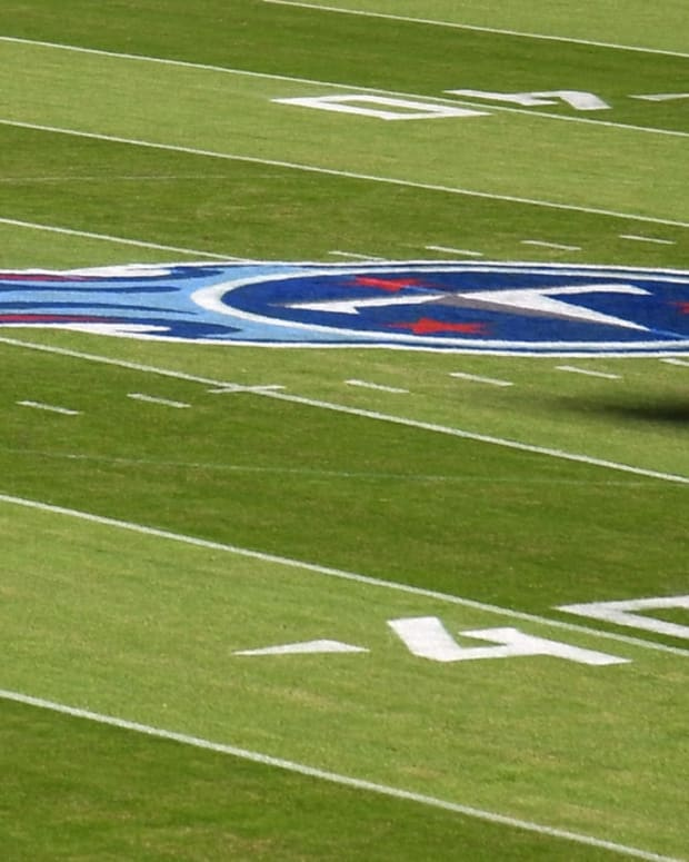 General view of the Tennessee Titans logo on the field before the game against the Buffalo Bills at Nissan Stadium.