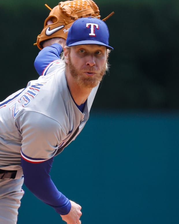 Jul 22, 2021; Detroit, Michigan, USA; Texas Rangers starting pitcher Mike Foltynewicz (20) pitches against the Detroit Tigers in the first inning at Comerica Park.
