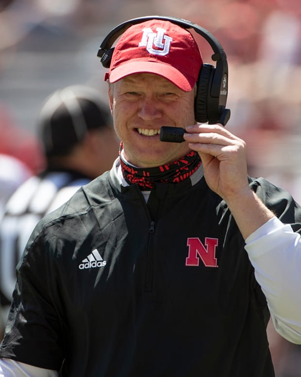 Nebraska football coach Scott Frost smiles during the 2021 Red-White Spring Game