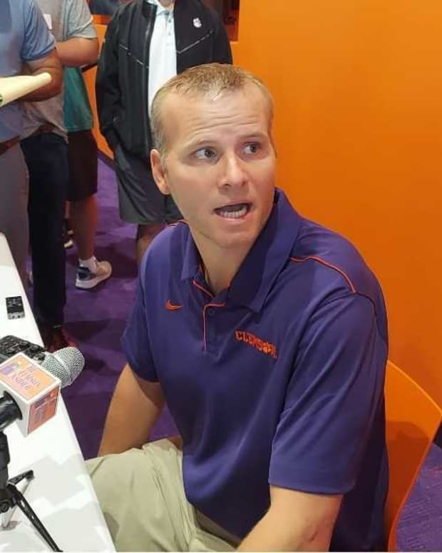Quarterbacks coach Brandon Streeter speaks at Clemson Media Day