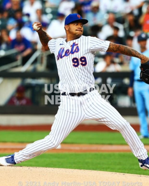 Mets pitcher Taijuan Walker was roughed up by his former team in the Blue Jays, who tagged him for six runs and three homers on Saturday night.