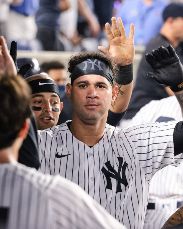 Yankees C Gary Sanchez celebrates in dugout