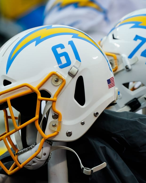 Jan 3, 2021; Kansas City, Missouri, USA; A detailed view of Los Angeles Chargers helmets during the first half against the Kansas City Chiefs at Arrowhead Stadium.
