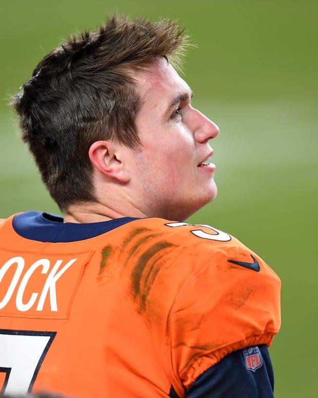 Denver Broncos quarterback Drew Lock (3) during the fourth quarter against the Las Vegas Raiders at Empower Field at Mile High.