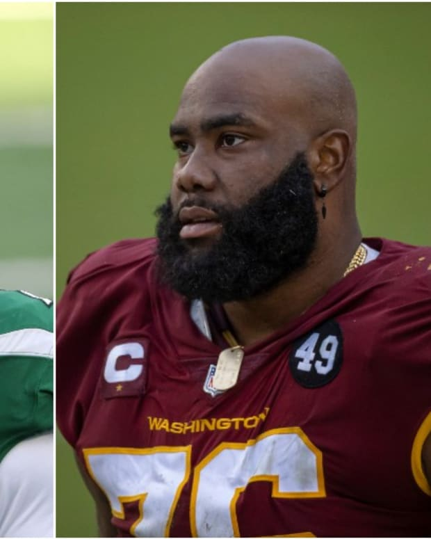 Jets offensive linemen George Fant, Morgan Moses