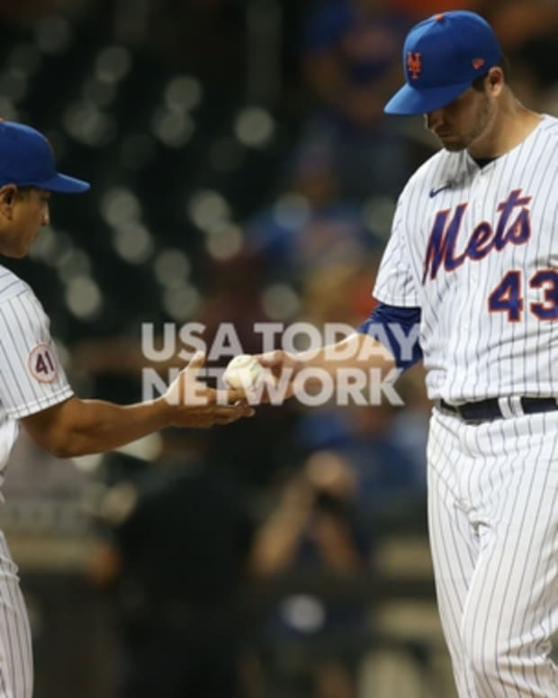 Mets pitcher Jerad Eickhoff got shelled for 10 runs by the Braves on Tuesday night.