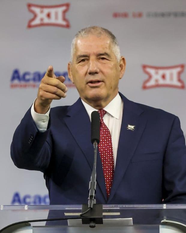 Jul 14, 2021; Arlington, TX, USA; Big 12 Commissioner Bob Bowlsby speaks to the media during Big 12 media days at AT&T Stadium.
