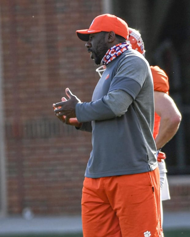 Will Shipley with C.J. Spiller at Clemson spring practice