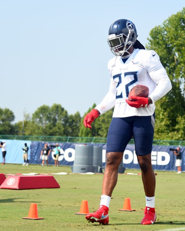 Tennessee Titans running back Derrick Henry (22) works through drills at training camp at Saint Thomas Sports Park.