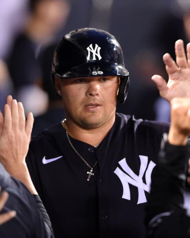 Yankees 1B Luke Voit in spring training