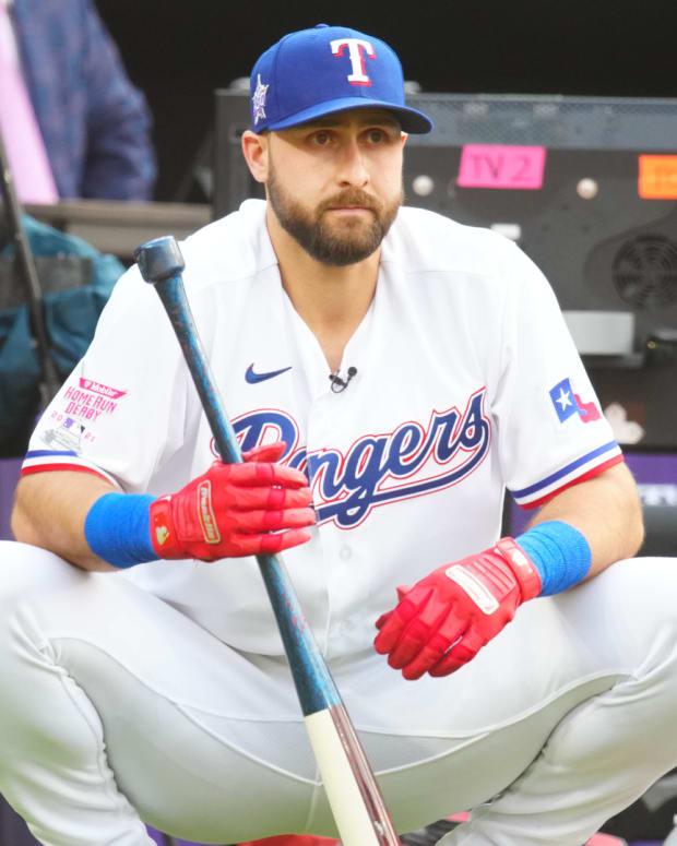 Jul 12, 2021; Denver, CO, USA; Texas Rangers right fielder Joey Gallo watches during the 2021 MLB Home Run Derby.