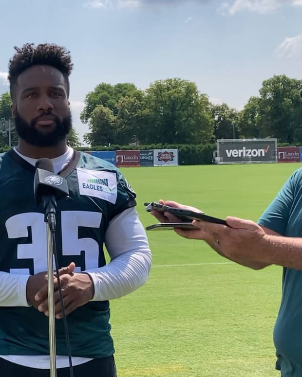 Boston Scott after Eagles training camp practice on July 30, 2021