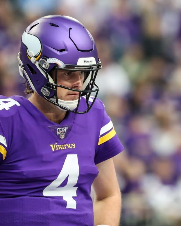 Dec 29, 2019; Minneapolis, Minnesota, USA; Minnesota Vikings quarterback Sean Mannion (4) looks on during the second quarter against the Chicago Bears at U.S. Bank Stadium.