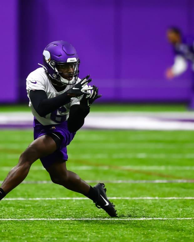 May 22, 2019; Eagan, MN, USA; Minnesota Vikings wide receiver Davion Davis (16) catches a pass during organized team activities at TCO Performance Center. Mandatory Credit: David Berding-USA TODAY Sports