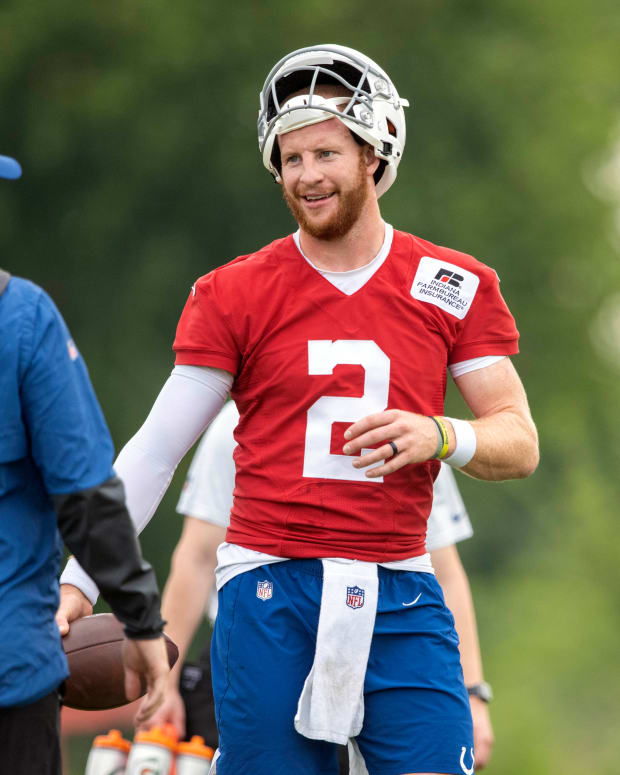 Jul 28, 2021; Westfield, IN, United States; Indianapolis Colts quarterback Carson Wentz (2) at Grand Park. Mandatory Credit: Marc Lebryk-USA TODAY Sports