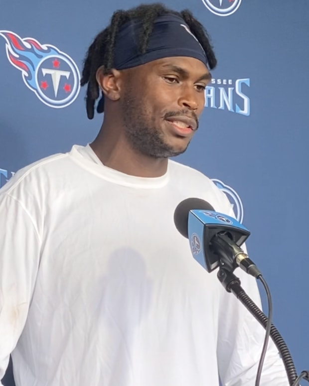 Wide receiver Julio Jones addresses reporters following the Tennessee Titans' training camp practice on July 31, 2021 in Nashville, Tenn.
