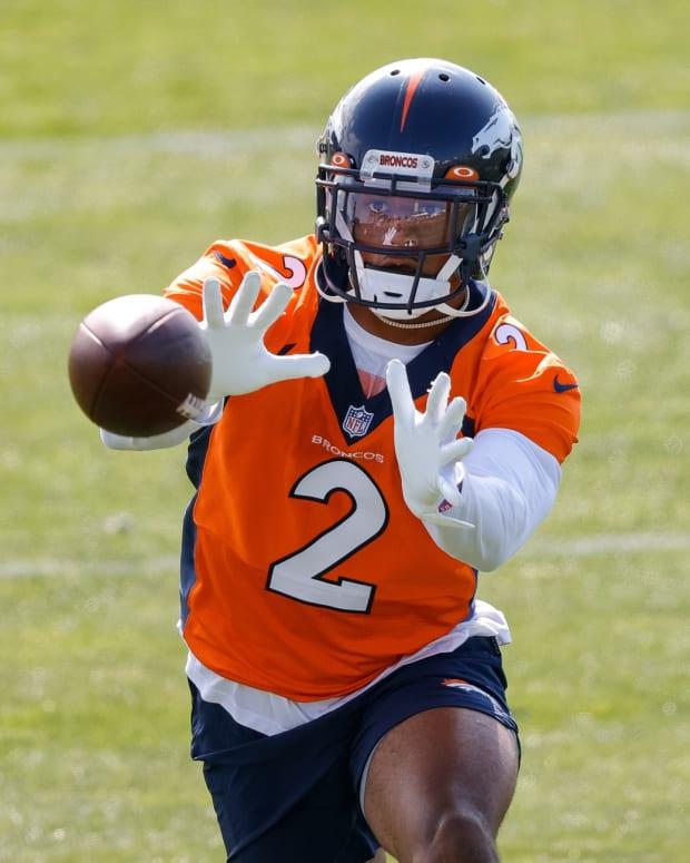 Denver Broncos cornerback Pat Surtain II (2) during training camp at UCHealth Training Center.