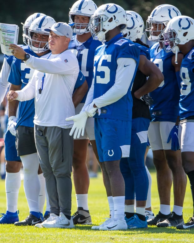 Plays being given to Colts defenders at Grand Park in Westfield on Monday, August 2, 2021, on the second week of workouts of this summer's Colts training camp. Head Coach Frank Reich reappeared at practice after being away for ten days after a COVID-19 positive test. Colts Get Their Coach Back On Week Two Of Colts Camp