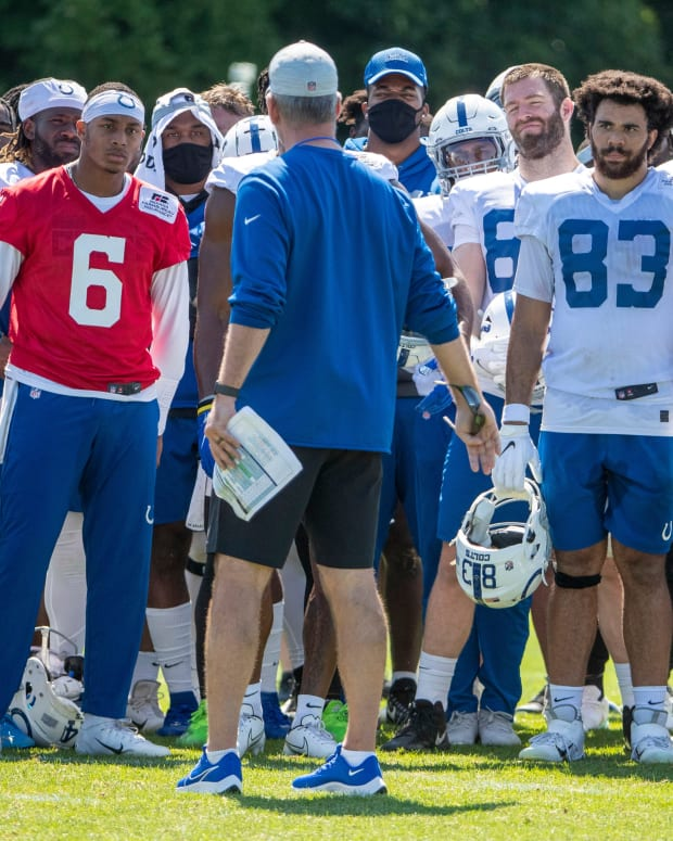 Indianapolis Colts head coach Frank Reich talks with players after practice at Grand Park in Westfield on Monday, August 2, 2021, on the second week of workouts of this summer's Colts training camp. Head Coach Frank Reich reappeared at practice after being away for ten days after a COVID-19 positive test. Colts Get Their Coach Back On Week Two Of Colts Camp
