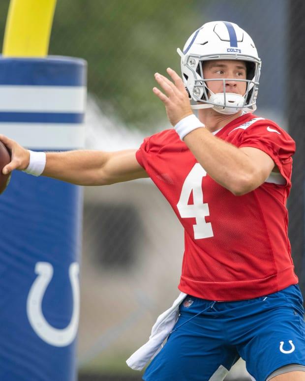 Jul 28, 2021; Westfield, IN, United States; Indianapolis Colts quarterback Sam Ehlinger (4) at Grand Park.