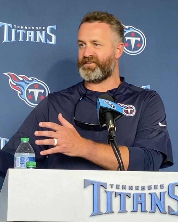 Defensive coordinator Shane Bowen talks to reporters following the Tennessee Titans' training camp workout on Aug. 3, 2021 in Nashville, Tenn.